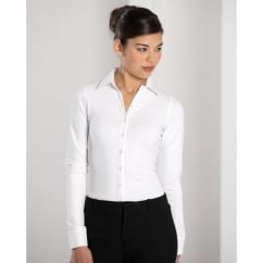 993F Ladies' Long Sleeve Shirt Stretch Top White - Size: L *One Size Only - Outlet Store*