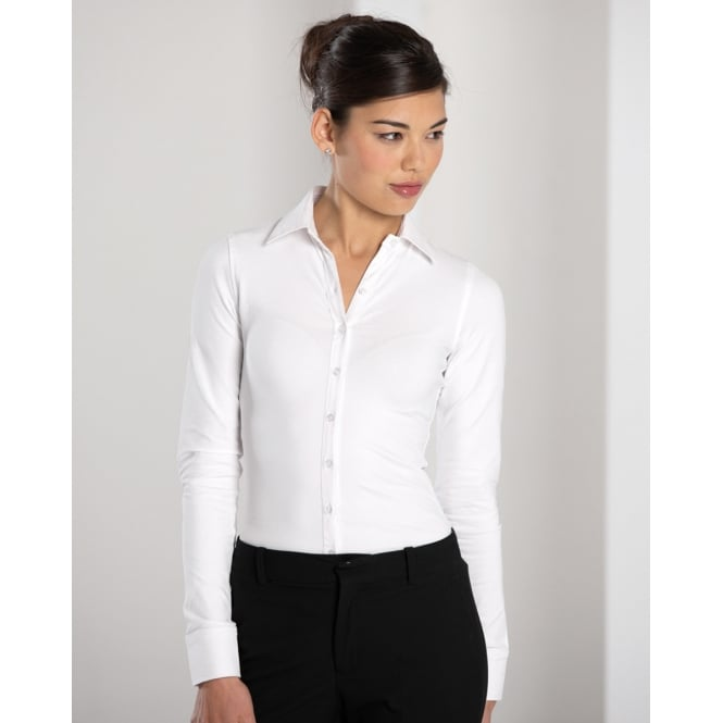 Russell Collection 993F Ladies' Long Sleeve Shirt Stretch Top White - Size: S *One Size Only - Outlet Store*