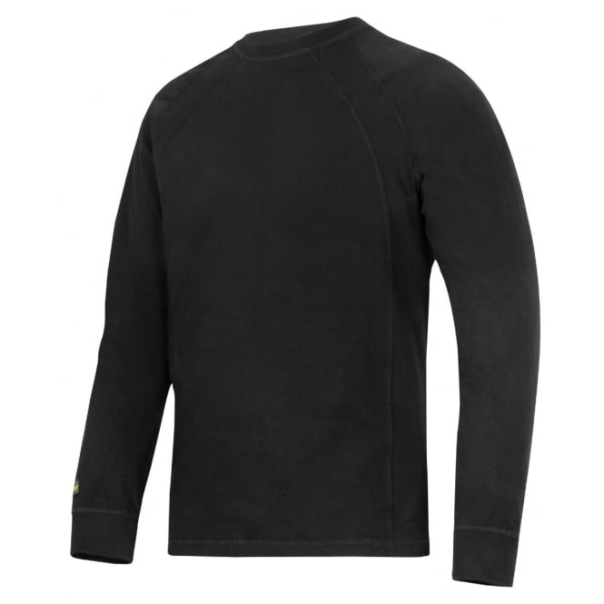 Snickers 2402 Long Sleeve T Shirt Brushed Cotton Fabric Top: Black Size: L *One Size Only - Outlet Store*
