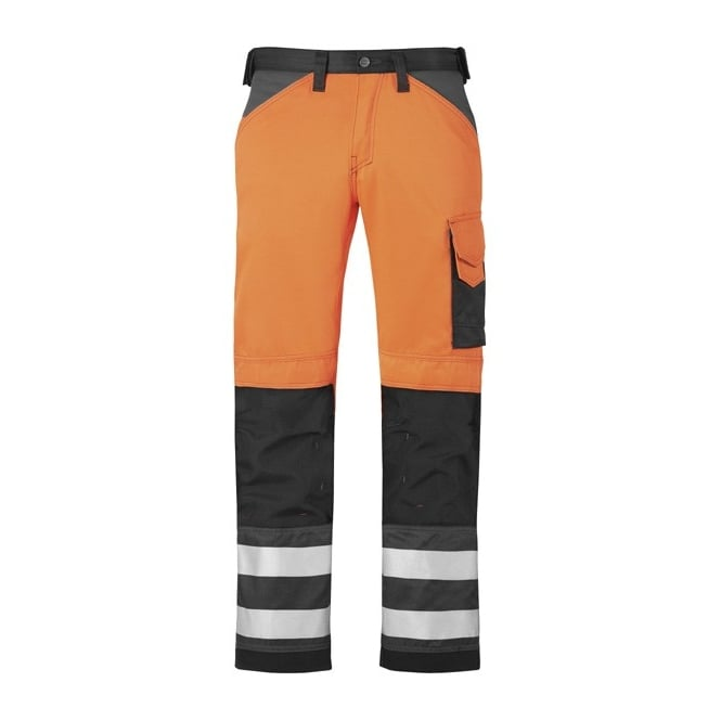 Snickers 3333 Hi Visibility Knee Pad Work Trousers Hi Viz Combat Pockets