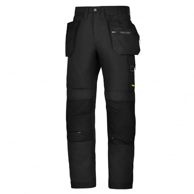 Snickers 6200 AllroundWork, Work Trousers+ Holster Pockets Black, Inside Leg: 32