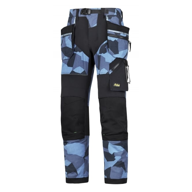 Snickers 6902 FlexiWork, Work Trousers+ Holster Pockets Navy Camo/Black W: 50