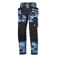 6902 FlexiWork, Work Trousers+ Holster Pockets Navy Camo/Black W: 50