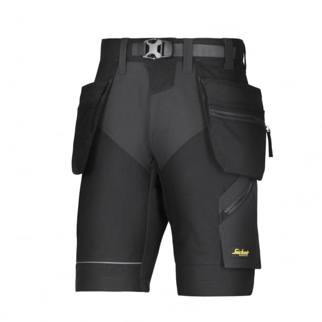Snickers 6904 FlexiWork, Work Shorts+ Holster Pockets Black - Size: 35