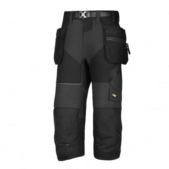 Snickers 6905 FlexiWork, Work Pirate Trousers+ Holster Pockets Black, Inside Leg: 32