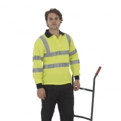 HVJ310-3M Hi-Vis Long Sleeve Polo Shirt Hi-Vis Yellow - Size: S *One Size Only - Outlet Store*