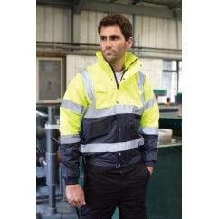 HVP218 Hi-Vis Two Tone Bomber Jacket Hi-Vis Yellow/Navy 3XL *One Size Only - Outlet Store*